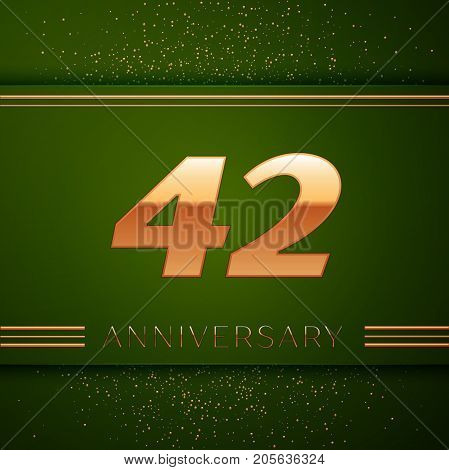 Realistic Forty two Years Anniversary Celebration Logotype. Golden numbers and golden confetti on green background. Colorful Vector template elements for your birthday party