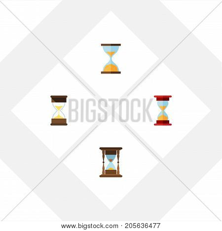 Flat Icon Sandglass Set Of Clock, Sand Timer, Minute Measuring Vector Objects