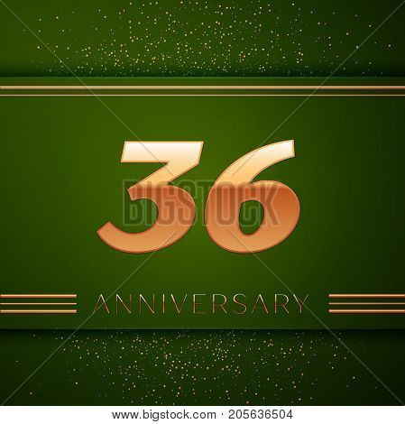 Realistic Thirty six Years Anniversary Celebration Logotype. Golden numbers and golden confetti on green background. Colorful Vector template elements for your birthday party