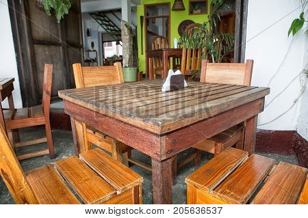 January 11 2015 Flores Guatemala: small restaurants popular with visitors all over on the popular tourist destination small island
