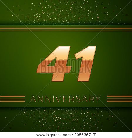 Realistic Forty one Years Anniversary Celebration Logotype. Golden numbers and golden confetti on green background. Colorful Vector template elements for your birthday party