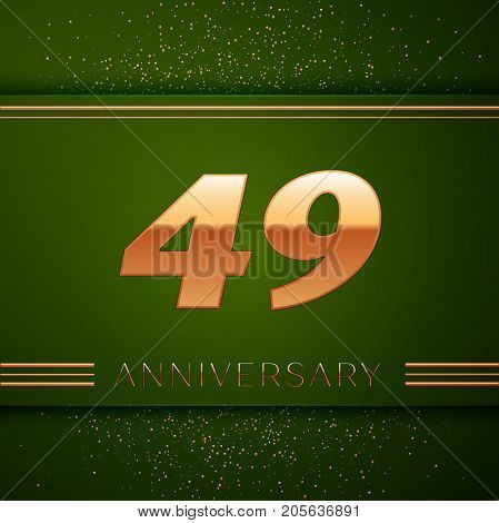 Realistic Forty nine Years Anniversary Celebration Logotype. Golden numbers and golden confetti on green background. Colorful Vector template elements for your birthday party