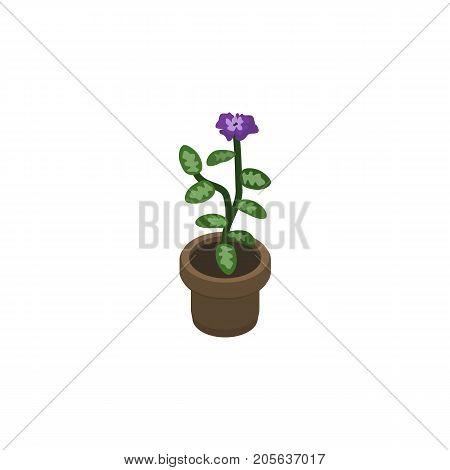 Flower  Vector Element Can Be Used For Flower, Flowerpot, Pot Design Concept.  Isolated Flowerpot Isometric.