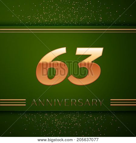 Realistic Sixty three Years Anniversary Celebration Logotype. Golden numbers and golden confetti on green background. Colorful Vector template elements for your birthday party