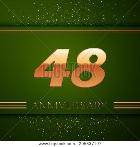 Realistic Forty eight Years Anniversary Celebration Logotype. Golden numbers and golden confetti on green background. Colorful Vector template elements for your birthday party