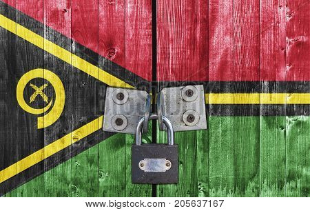 Vanuatu flag on door with padlock close