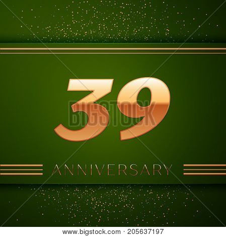 Realistic Thirty nine Years Anniversary Celebration Logotype. Golden numbers and golden confetti on green background. Colorful Vector template elements for your birthday party