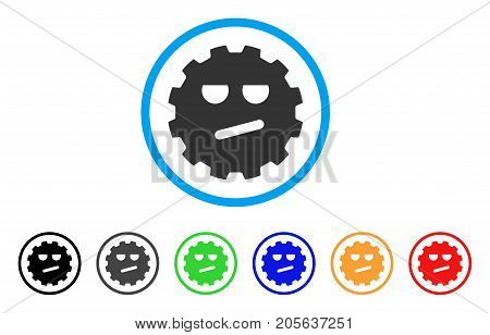 Angry Smiley Gear icon. Vector illustration style is a flat iconic angry smiley gear symbol with black, grey, green, blue, red, orange color versions. Designed for web and software interfaces.
