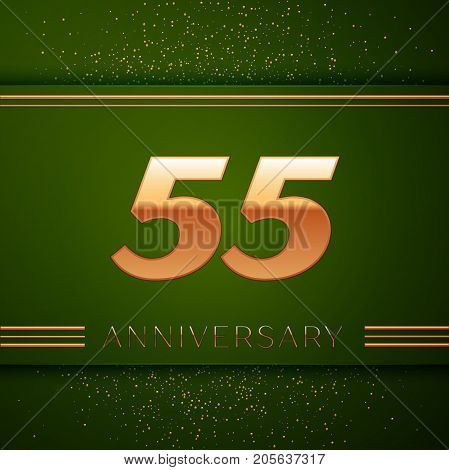 Realistic Fifty five Years Anniversary Celebration Logotype. Golden numbers and golden confetti on green background. Colorful Vector template elements for your birthday party