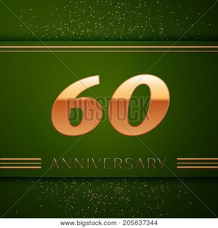Realistic Sixty Years Anniversary Celebration Logotype. Golden numbers and golden confetti on green background. Colorful Vector template elements for your birthday party