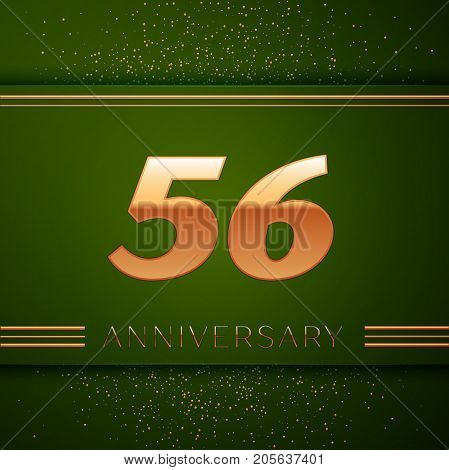 Realistic Fifty six Years Anniversary Celebration Logotype. Golden numbers and golden confetti on green background. Colorful Vector template elements for your birthday party