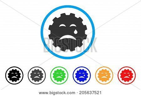 Cry Smiley Gear icon. Vector illustration style is a flat iconic cry smiley gear symbol with black, gray, green, blue, red, orange color additional versions. Designed for web and software interfaces.