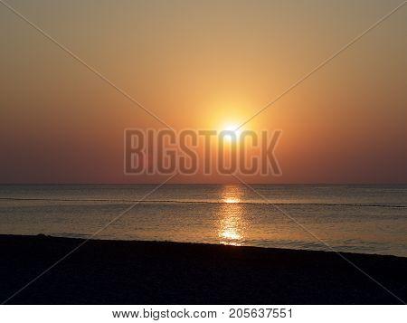 beautiful scenery of the sunrise in greece