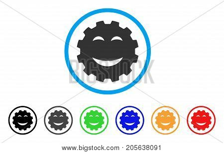 Joy Smiley Gear icon. Vector illustration style is a flat iconic joy smiley gear symbol with black, grey, green, blue, red, orange color versions. Designed for web and software interfaces.