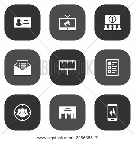 Collection Of Application, Message, Inbox And Other Elements.  Set Of 9 Advertising Icons Set.