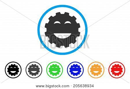Pleasure Smiley Gear icon. Vector illustration style is a flat iconic pleasure smiley gear symbol with black, gray, green, blue, red, orange color additional versions.