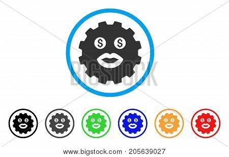 Prostitute Smiley Gear icon. Vector illustration style is a flat iconic prostitute smiley gear symbol with black, gray, green, blue, red, orange color variants.