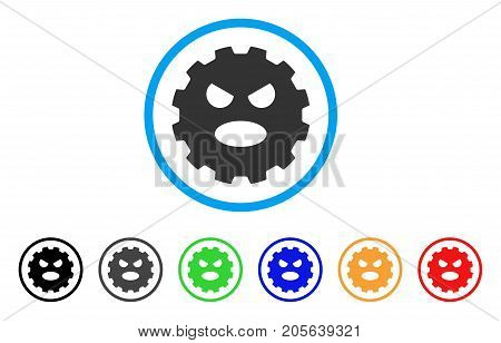 Scream Smiley Gear icon. Vector illustration style is a flat iconic scream smiley gear symbol with black, gray, green, blue, red, orange color versions. Designed for web and software interfaces.