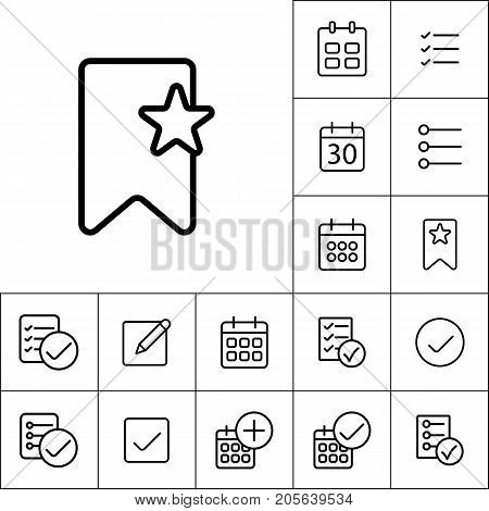 Thin Line Bookmark Icon On White Background, Schedule Planning S