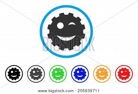 Wink Smiley Gear icon. Vector illustration style is a flat iconic wink smiley gear symbol with black, gray, green, blue, red, orange color additional versions.
