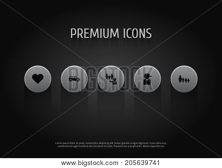 Collection Of Nanny, Baseball, Heart And Other Elements.  Set Of 5 People Icons Set.