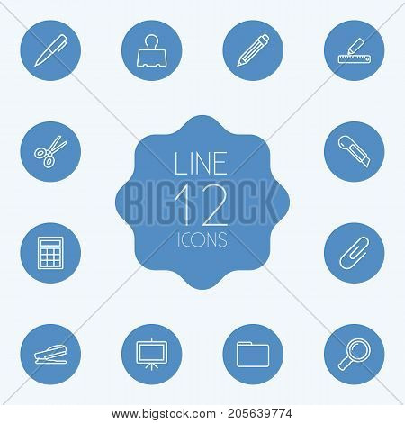 Collection Of Zoom Glasses, Drawing, Pen And Other Elements.  Set Of 12 Stationery Outline Icons Set.