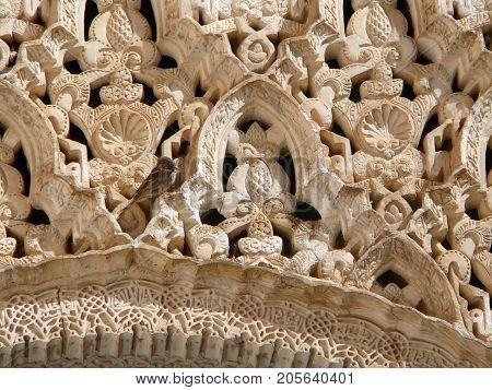 A sparrow sitting on elaborate moorish carvings in AlHambra Granada