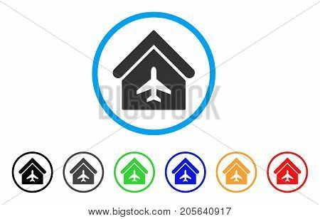 Aircraft Hangar rounded icon. Style is a flat aircraft hangar gray symbol inside light blue circle with black, gray, green, blue, red, orange color versions.