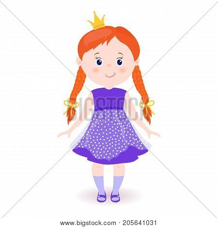 Cute small princess.Hand drawn cute little girl. Smiling cartoon character.Child with pigtails.Violet dress. yellow crown.Childish vector card.