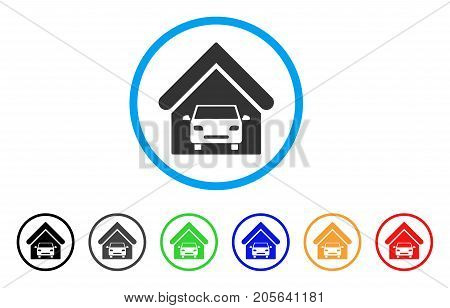 Car Garage rounded icon. Style is a flat car garage gray symbol inside light blue circle with black, gray, green, blue, red, orange versions. Vector designed for web and software interfaces.