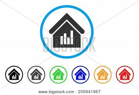 Realty Bar Chart rounded icon. Style is a flat realty bar chart gray symbol inside light blue circle with black, gray, green, blue, red, orange versions.