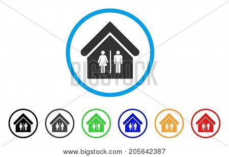Toilet Building rounded icon. Style is a flat toilet building gray symbol inside light blue circle with black, gray, green, blue, red, orange versions. Vector designed for web and software interfaces.