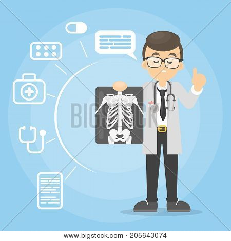 Doctor with x-ray. Man holding ray images.
