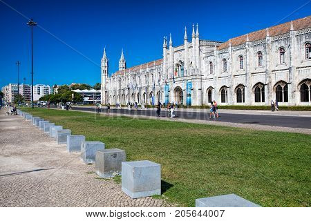 LISBON PORTUGAL - SEPTEMBER 13 . 2017 . The landmark Mosteiro dos Jeronimos in the Belem district in Lisbon Portugal