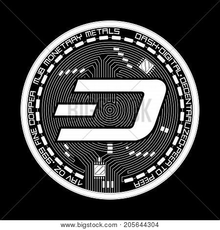 Crypto currency white coin with black lackered dash symbol on obverse isolated on black background. Vector illustration. Use for logos, print products, page and web decor or other design.