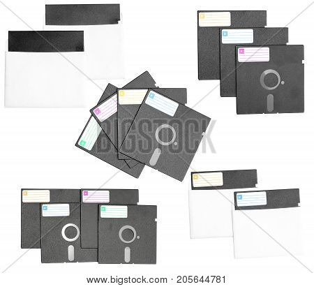 Isolated set diskette retro vintage old computer