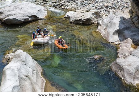 April 17, 2015 La Ceiba, Honduras: The Canrejal River In The Pico Bonito National Park Is A Popular