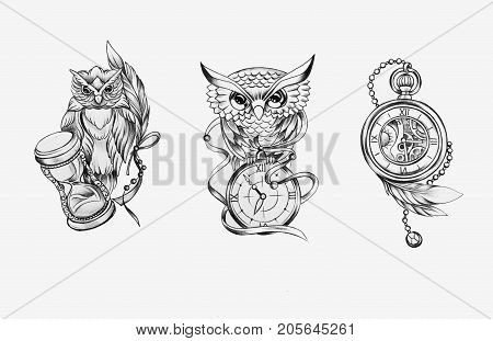 Sketch of two owls with a clock and a chronometer on a white background.