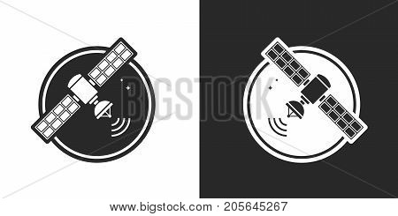vector illustration of satellite in black and white