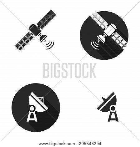 Earth and Cosmic satellite vector set icon