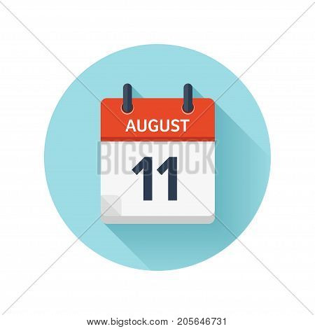 August 11. Vector flat daily calendar icon. Date and time, day, month 2018. Holiday. Season.