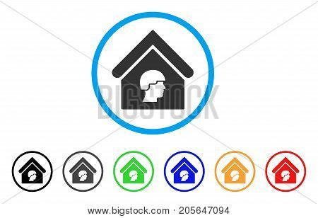 Barrack Building rounded icon. Style is a flat barrack building grey symbol inside light blue circle with black, gray, green, blue, red, orange variants.