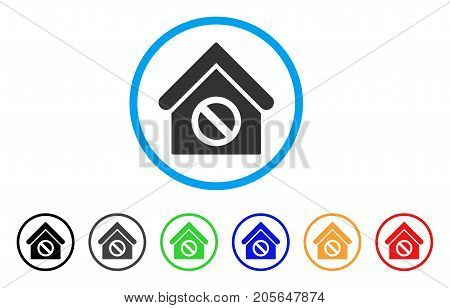 Forbidden Building rounded icon. Style is a flat forbidden building grey symbol inside light blue circle with black, gray, green, blue, red, orange variants.