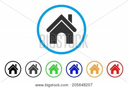 Home rounded icon. Style is a flat home grey symbol inside light blue circle with black, gray, green, blue, red, orange variants. Vector designed for web and software interfaces.