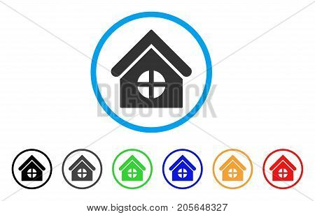 House With Round Window rounded icon. Style is a flat house with round window gray symbol inside light blue circle with black, gray, green, blue, red, orange color versions.