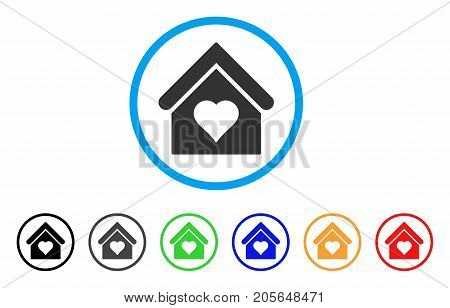 Love House rounded icon. Style is a flat love house gray symbol inside light blue circle with black, gray, green, blue, red, orange variants. Vector designed for web and software interfaces.