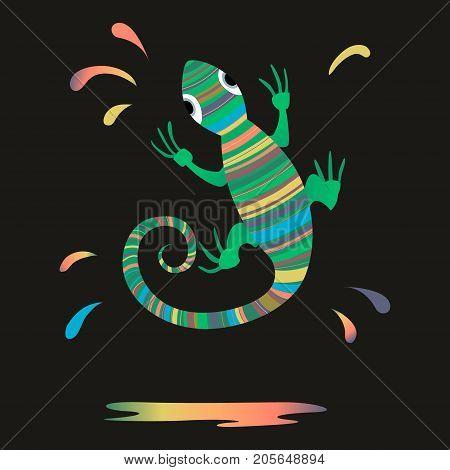 Chameleon, Splash paint lizard Vector illustration on dark background