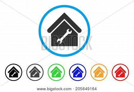 Repair Building rounded icon. Style is a flat repair building grey symbol inside light blue circle with black, gray, green, blue, red, orange color versions.
