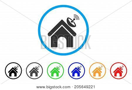 Space Antenna Building rounded icon. Style is a flat space antenna building grey symbol inside light blue circle with black, gray, green, blue, red, orange color versions.