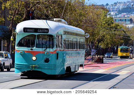 September 19, 2017 in San Francisco, CA:  Historic railway Street Cars which is part of the local transit system taken in San Francisco, CA where people can take this rail street car between the Castro District and Fisherman's Warf on Market Street